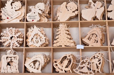 Box of beautiful wooden christmas toys photo
