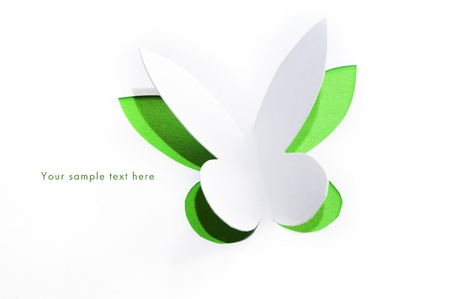 eco green: Greeting card with paper butterfly Stock Photo