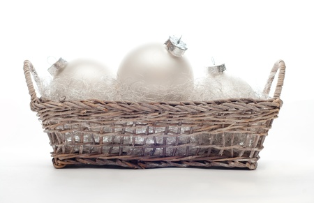 Christmas ball in the basket 版權商用圖片