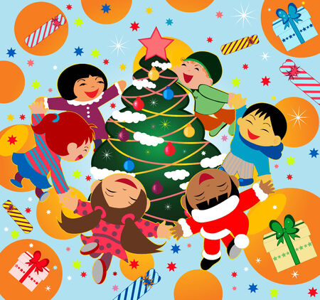 Happy kids dancing around a Christmas tree Stock Vector - 6093764