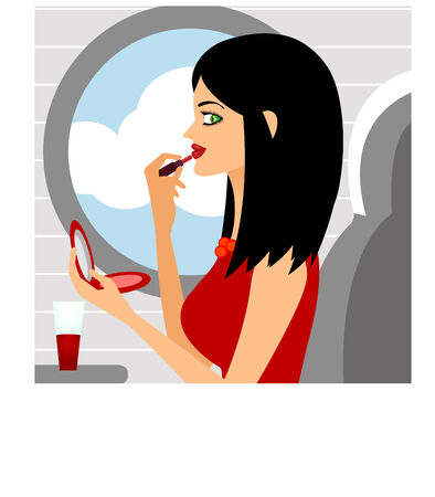 A young beautiful lady sitting in a plane doing makeup Vector