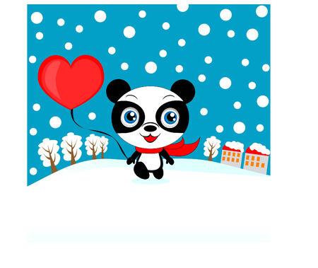 one panda: Valentine panda