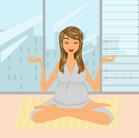 A vector illustration of a beautiful mom- to-be practicing yoga