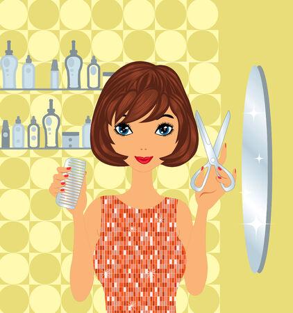 Beautiful hairdresser at work Vector