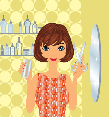 Beautiful hairdresser at work Vector