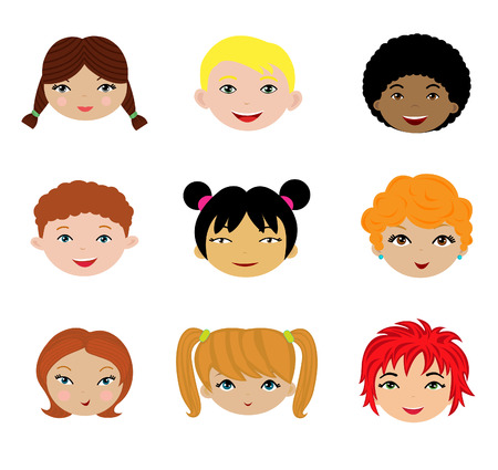 A cute set of different kids faces Stock Vector - 7314839