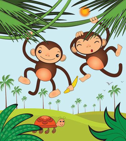 Funny monkeys Stock Vector - 8225071
