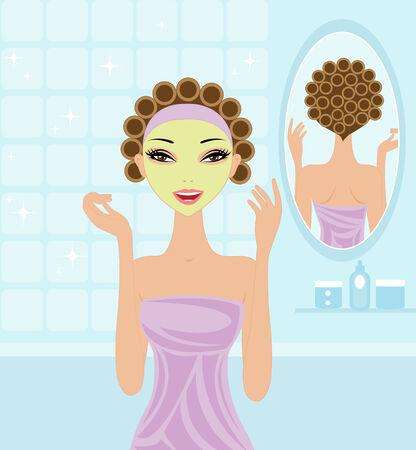 rulos: Chica de spa