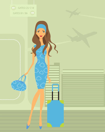 travel luggage: Travelling girl