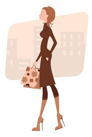 Elegant lady shopping Stock Vector - 8825748