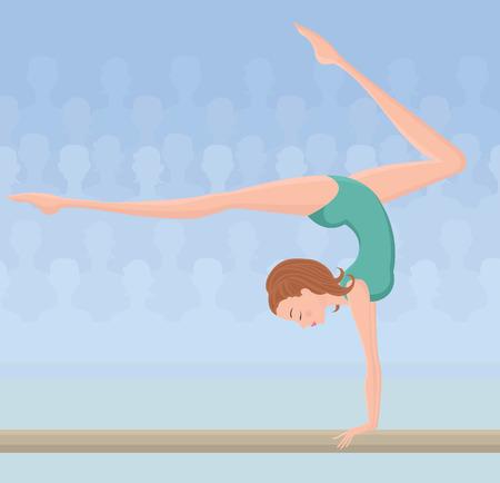 flexible woman: Gimnasta femenina en la viga de equilibrio