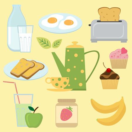 Kleurrijke ontbijt set Vector Illustratie