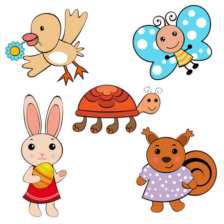 Funny little animals Stock Vector - 9074604