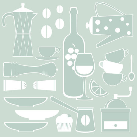 coffee maker: Coffee Wine and spices  Illustration