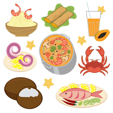 Thai food collection Vector
