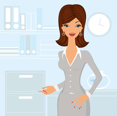smart girl: Beautiful business woman at the office
