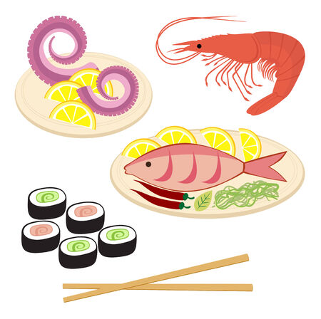 fried shrimp: Sea food Illustration