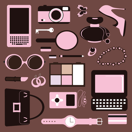 make up woman: Women accessories Illustration