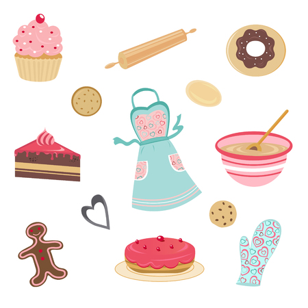 Cute bakery set Vector