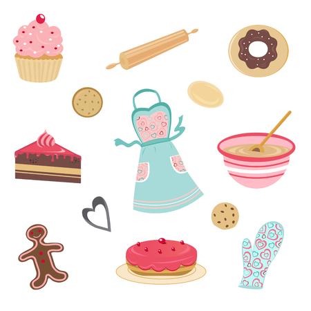 Cute bakery set Vector