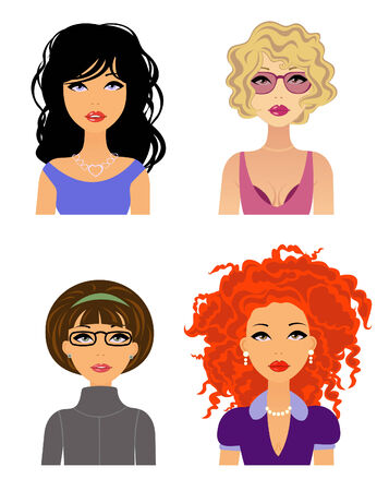 Four diferent style girls  Vector