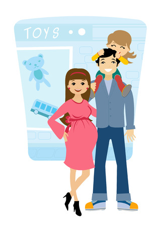 kid shopping: Fappy family with one child shopping for their upcoming baby Illustration