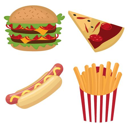 burger with fries: Colorful fast food set