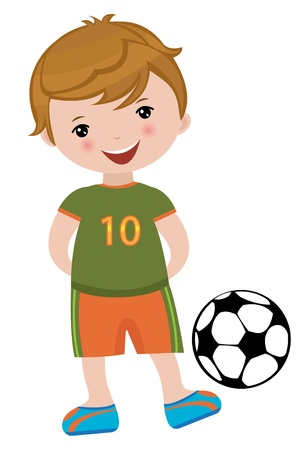 one boy: Little fooball player Illustration