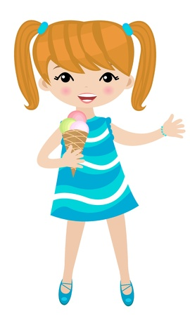 Girl eating ice cream Stock Vector - 9716552