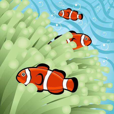 Happy clown-fishes Vector