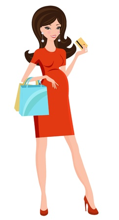 chic woman: Pregnant beauty shopping for her upcoming baby