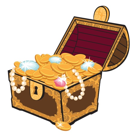 antique jewelry: Treasure chest Illustration