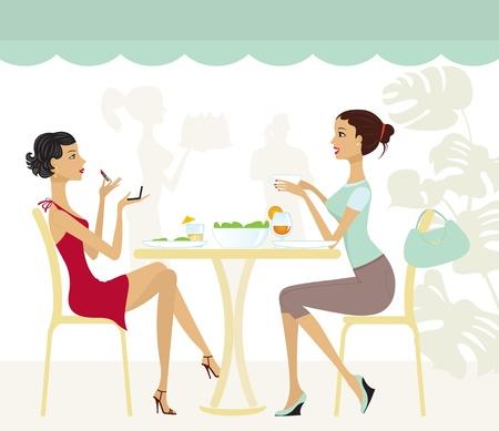 deux personnes qui parlent: Deux filles chics dans un caf�.