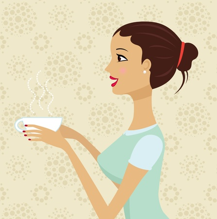 Beautiful girl holding cup of coffee Vector