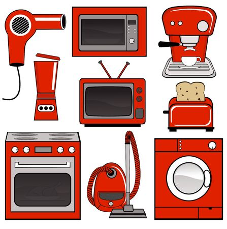 microwave oven: Household appliances Illustration