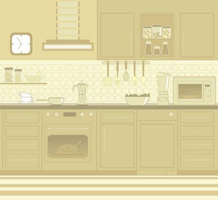 modern kitchen interior: Kitchen furniture  Illustration