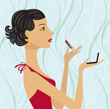 charming: Pretty brunette applying mascara on her lips Illustration