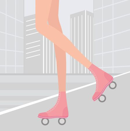 Roller skating in a city Vector