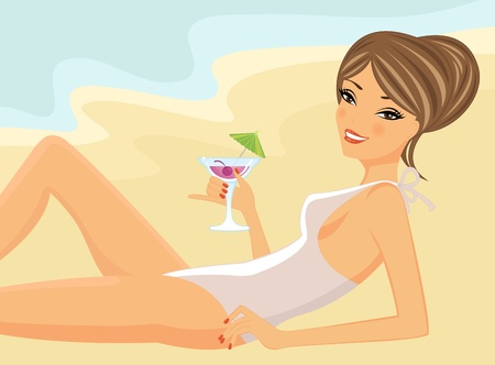 Beautiful girl drinking cocktail on a beach  Vector