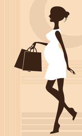 maternity: Silhouette of a fashionable pregnant woman  Illustration