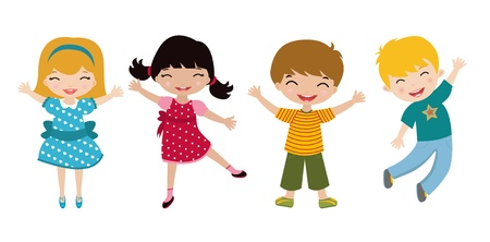 jumping girl: Four happy kids  Illustration