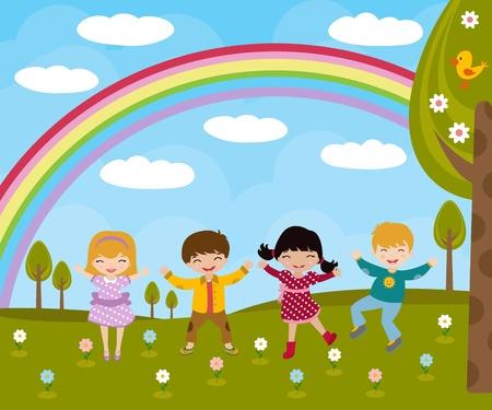 tanzen cartoon: Kids im Frühjahr Illustration
