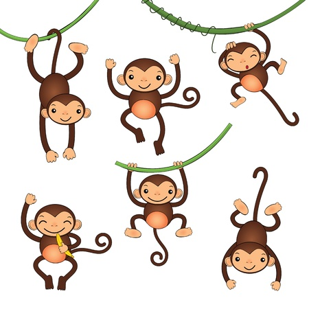 Cute monkey characters Vector