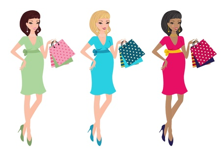 pregnant blonde: Set of beautiful moms-to-be with different color clothing  Illustration