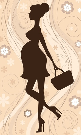 Elegant mom-to-be silhouette  Vector