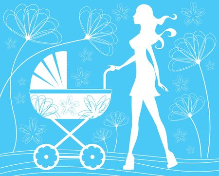 Silhouette mom walking with baby carriage