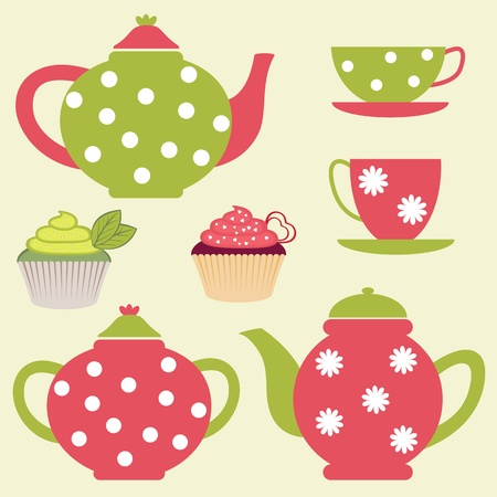 english breakfast tea: Tea set Illustration