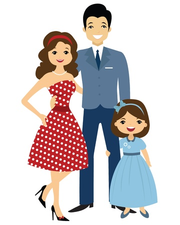mamans: famille de style ann�es 50 Illustration