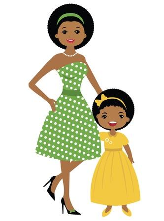 ilustraciones africanas: Mamá afroamericana e hija cincuenta estilo Vectores