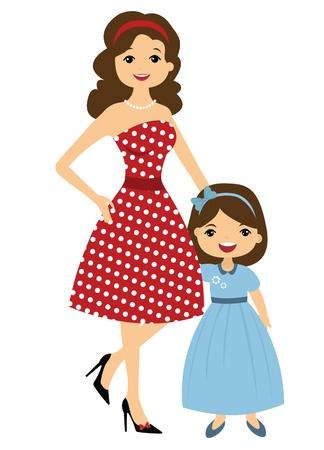 50 年代スタイルのママと娘  イラスト・ベクター素材